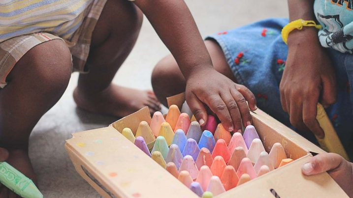 kids picking out giant chalk