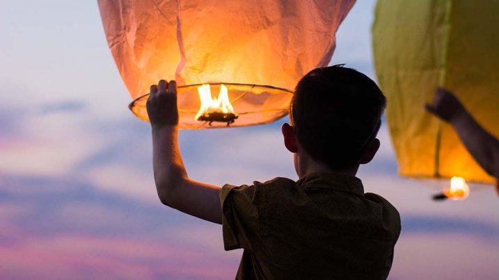 launching paper lanterns