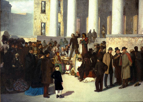 Last Sale of the Slaves, 1860. Acc. # 1939.3.1. Oil on canvas by Thomas Satterwhite Noble, ca. 1871. Missouri Historical Society, St. Louis. N21722. Scan (c) 2000, Missouri Historical Society.