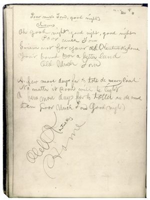 An original image from Stephen Collins Foster's notebook